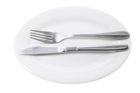 Knife and Fork on Plate with White Background photo