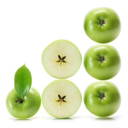 granny smith: Granny Smith Apple on White Background
