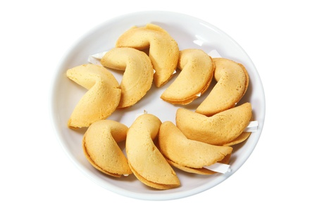Plate of Fortune Cookies on White Background photo