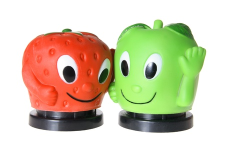 Apple and Strawberry Figures on white
