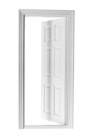out door: Wooden Door on White Background