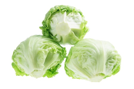 lettuce: Iceberg Lettuce on White Background