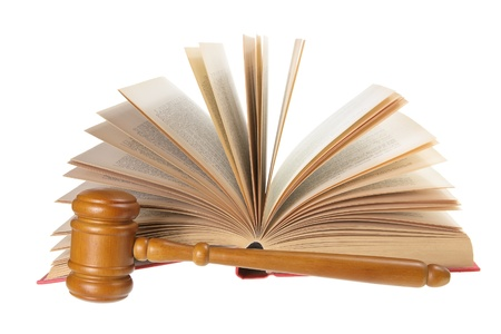 Wooden Gavel and Opened Book on White Background