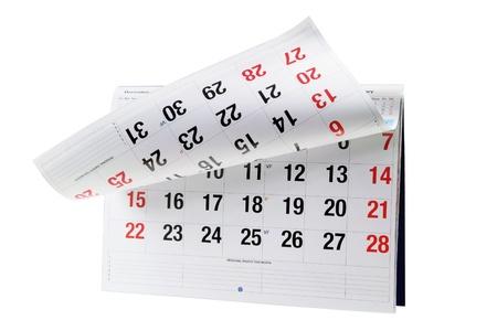kalender: Kalender auf weißem Hintergrund