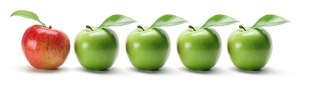 produces: row of Apples on White Background Stock Photo