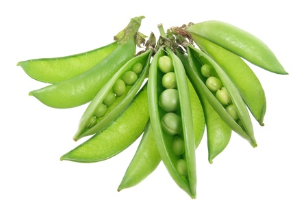green bean: Sugar Snap Peas on White Background