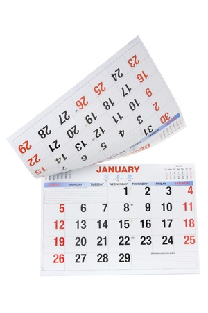 january calendar: Calendar on Isolated White Background Stock Photo