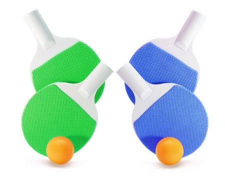 Table Tennis Bats and Balls on White Background Stock Photo - 10410447