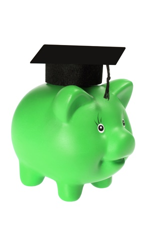 Piggy Bank with Mortarboard on White Background photo