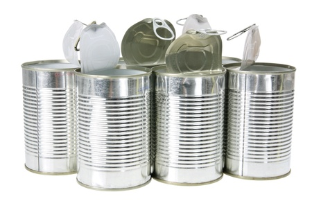 tin cans: Lege Tin Cans op een witte achtergrond