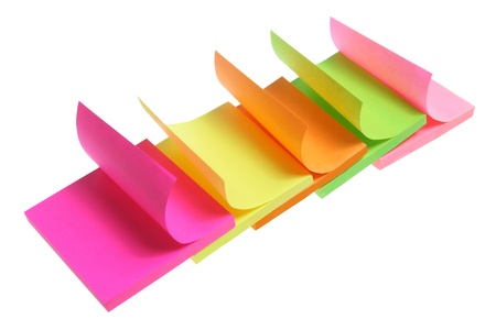 Post-it Notepads on White Background photo