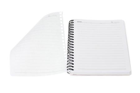 note book: Nota libro su sfondo bianco