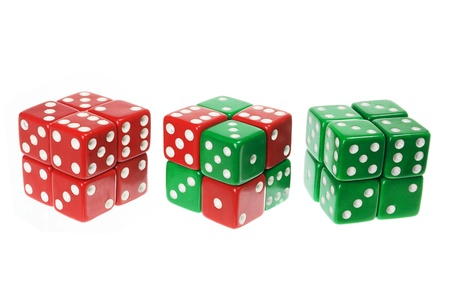Green and Red Dice on White Background photo