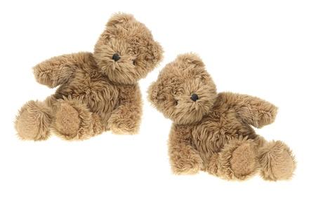 osos de peluche: Ositos de peluche sobre fondo blanco Foto de archivo