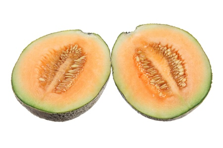 Halves of Rock Melon on White Background photo