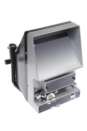 16mm: Vintage Film Editing Machine on White Background Stock Photo