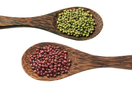 azuki bean: Mung Bean and Azuki Bean on White Background