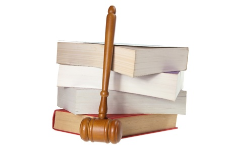 Gavel and Books on White Background photo