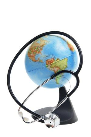 Globe and Stethoscope on White Background photo