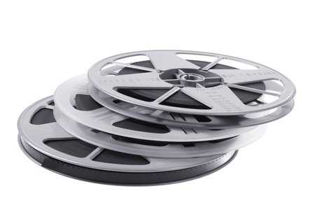 16mm: Film Reels on White Background