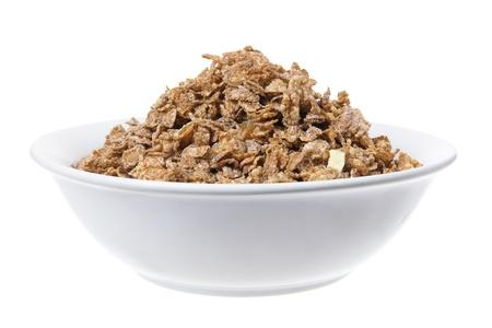 cereal: Plato de cereal en el fondo blanco