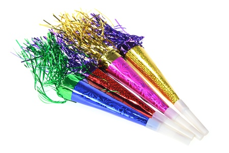 blowers: Party Blowers on White Background Stock Photo
