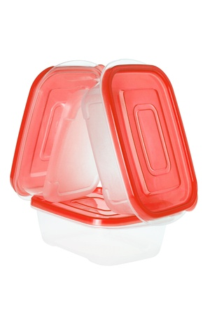homeware: Plastic Containers on White Background Stock Photo