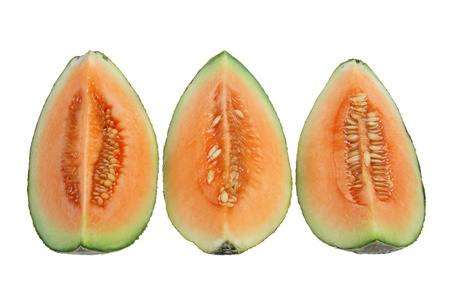 Slices of Rock Melon on White Background photo