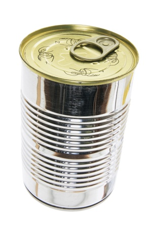 preservatives: Tin Can on White Background Stock Photo