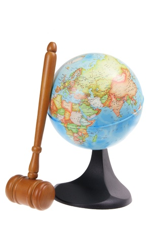 Globe and Gavel on White Background photo