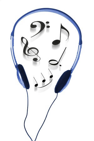 Headphone and Musical Notes on White Background photo
