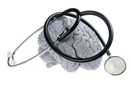 Brain and Stethoscope on White Background Stock Photo - 11005793