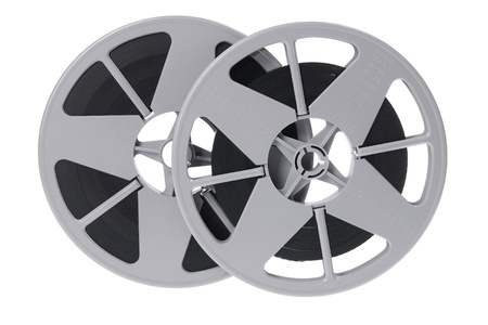 out of production: Film Reels on White Background