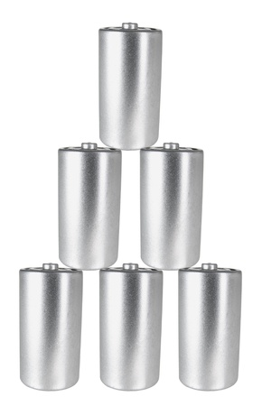 Stack of Batteries on White Background photo