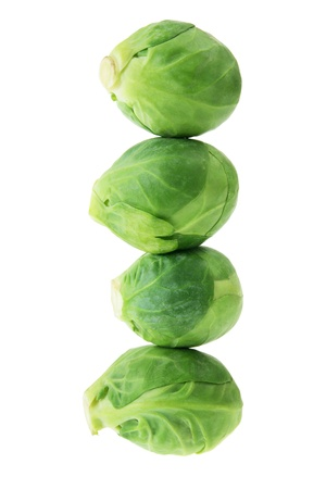 brussel: Brussel Sprouts on White Background Stock Photo