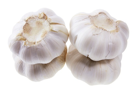 breadth: Stacks of Garlic on White Background