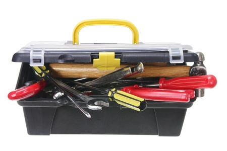 toolbox: Tool Box on White Background Stock Photo