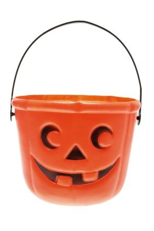 Halloween Pumpkin Basket on White Background photo