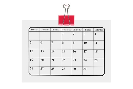 organizer page: Calendar on White Background