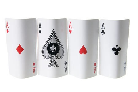 Four Aces Cards on White Background