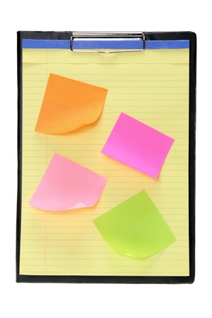 Clipboard with Sticky Notes on White Background photo