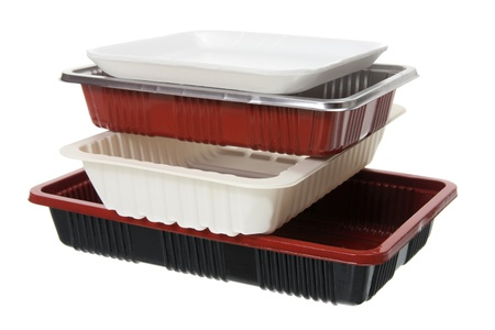 Stack of Food Trays on White Background photo