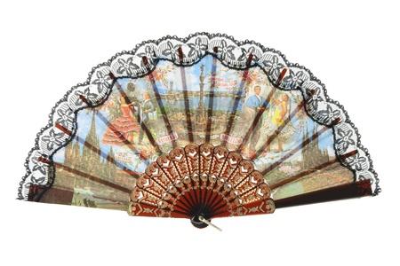 memorabilia: Folding Fan on White Background