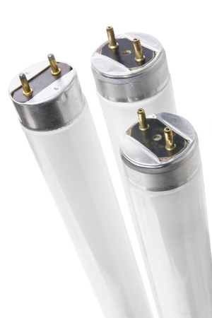 Fluorescent Tubes on White Background