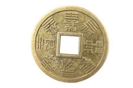 Chinese Antique Coin on White Background photo