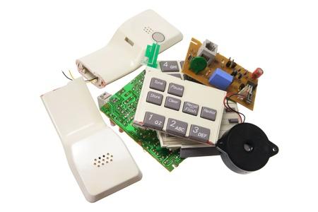 Broken Telephone on White Background photo