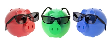 tinted glasses: Piggybanks with Sunglasses on White Background Stock Photo