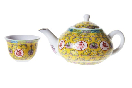 homeware: Chinese Tea Set on White Background
