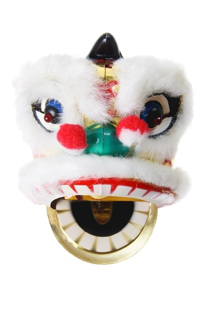 Lion Dance on White Background photo