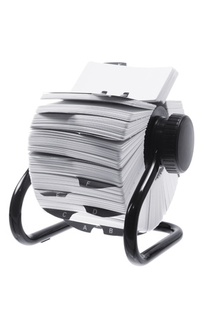 Rotary Card Index on White Background Stock Photo